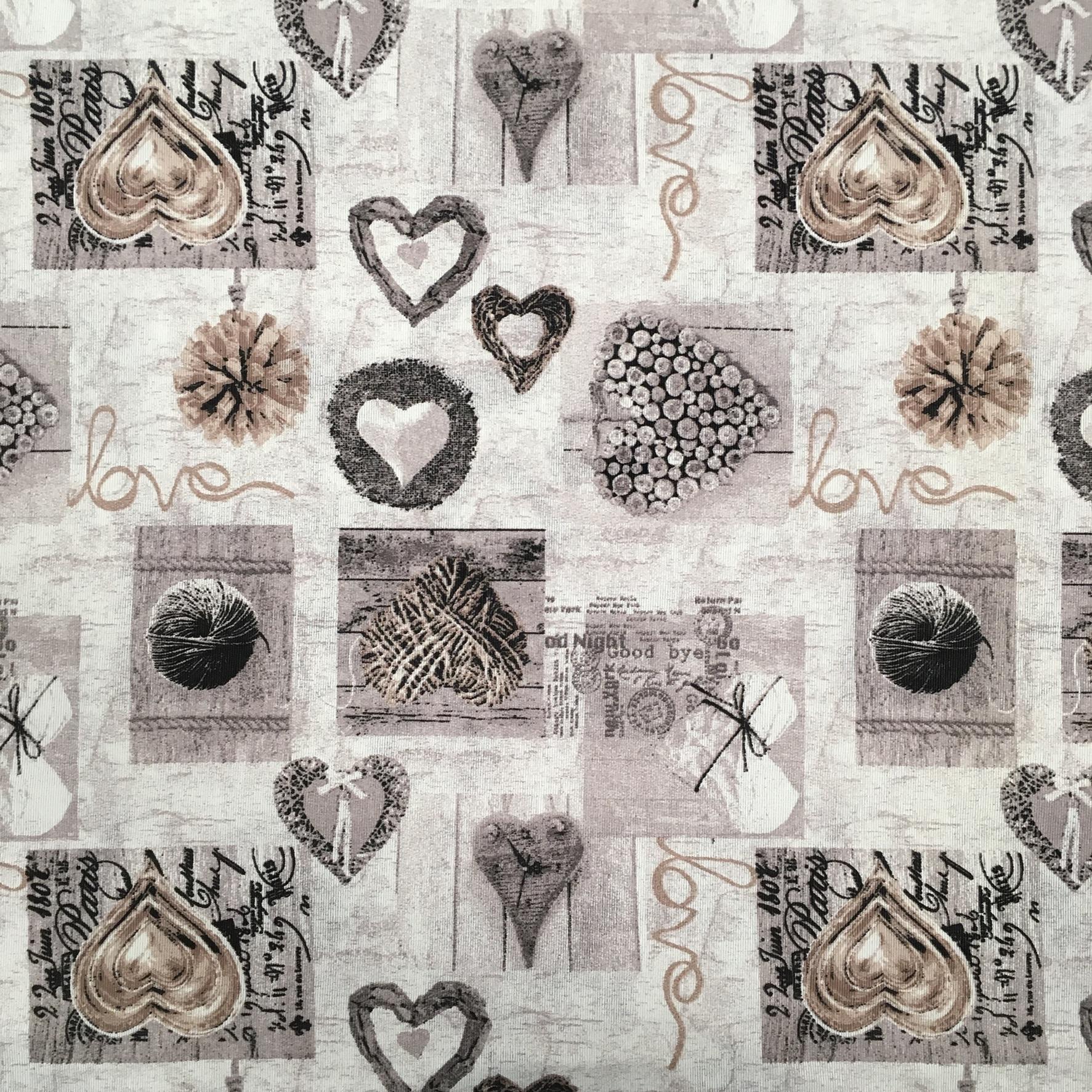 4dca9054aa tessuto Cuori grigio – Da Giselda – Biancheria per la casa, tessuti ...